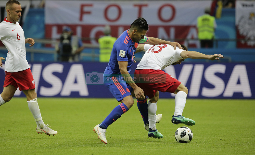 June 24, 2018 - Kazan, Russia - June 24, 2018. - Russia, Kazan. - Kazan Arena. FIFA World Cup 2018. Group H. Poland (white T-Shirts) v Columbia, 3:0. (Credit Image: © Russian Look via ZUMA Wire)