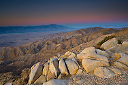 Dawn over San Jacinto Mountains, Palm Springs, and the Coachella Valley, from Keys View, Joshua Tree National Park, California