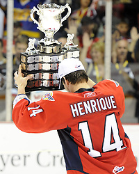Adam henrique hoists the Memorial Cup after the Windsor Spitfires defeated the Brandon Wheat Kings in the championship game at the 2010 MasterCard Memorial Cup in Brandon, MB on Sunday May 23. Photo by Aaron Bell/CHL Images