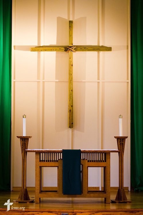 The chapel altar in Graebner Memorial Chapel at Concordia University, Saint Paul, on Wednesday, August 6, 2014, in St. Paul, Minn.   LCMS Communications/Erik M. Lunsford