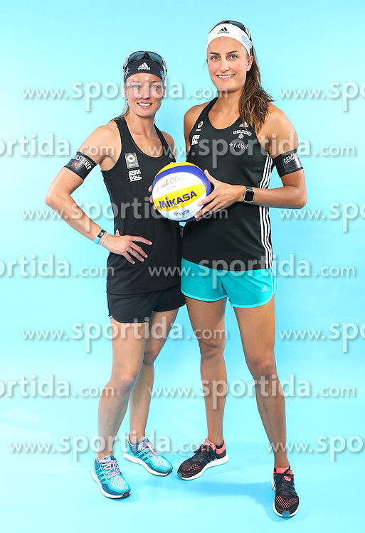 07.06.2016, Hamburg, GER, DVV Beachvolleyball, Fototermin, Nationalmannschaft, Olympische Spiele, Rio 2016, im Bild v.l. Katrin Holtwick und Ilka Semmler (GER) // f.l. Katrin Holtwick and Ilka Semmlerof Germany during photocall of German Beach Volleyball team of German Cycling Federation for the Olympic games, Rio 2016. Hamburg, Germany on 2016/06/07. EXPA Pictures &copy; 2016, PhotoCredit: EXPA/ Eibner-Pressefoto<br /> <br /> *****ATTENTION - OUT of GER*****