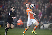 Blackpool's Will Aimson (6) during the The FA Cup 3rd round match between Blackpool and Barnsley at Bloomfield Road, Blackpool, England on 7 January 2017. Photo by Craig Galloway.