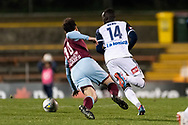 SYDNEY, AUSTRALIA - AUGUST 21: APIA Leichhardt Tigers midfielder Franco Parisi (10) and Melbourne Victory defender Thomas Deng (14) go for the ball at the FFA Cup Round 16 soccer match between APIA Leichhardt Tigers FC and Melbourne Victory at Leichhardt Oval in Sydney on August 21, 2018. (Photo by Speed Media/Icon Sportswire)