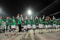23.03.2010, Weserstadion, Bremen, GER, DFB Pokal , Werder Bremen vs FC Augsburg, Halbfinale, im Bild Die Mannschaft von Werder Bremen jubelt ueber den 2-0 Sieg ueber Augsburg und damit die Finalteilnahme v.li Said Husejinovic ( Werder  #17) Mesut Özil / Oezil ( Werder  #11 ) Claudio Pizarro ( Werder  #24 ) Sebastian Prödl / Proedl( Werder  #15) Philipp Bargfrede ( Werder  #44 ) Aymen Abdennour ( Werder  #16 ) Torsten Frings ( Werder  #22 ) Sebastian Boenisch ( Werder   #02 ) Clemens Fritz ( Werder  #08) Petri Pasanen ( Werder   #03 )) EXPA Pictures © 2010, PhotoCredit: EXPA/ nph/  Witke / SPORTIDA PHOTO AGENCY