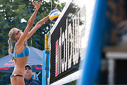 Anastasia Vasina of Russia blocks at A1 Beach Volleyball Grand Slam presented by ERGO tournament of Swatch FIVB World Tour 2012, on July 17, 2012 in Klagenfurt, Austria. (Photo by Matic Klansek Velej / Sportida)