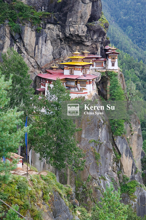 Taktsang (Tiger's Nest) Dzong perched on the edge of a steep cliff, Paro Valley, Bhutan