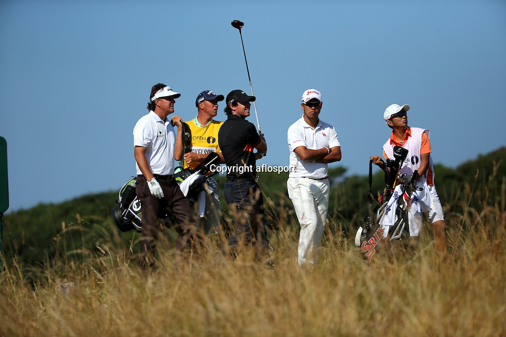 Phil Mickelson (USA), Rory McIlroy (NIR), Hideki Matsuyama (JPN),<br /> JULY 19, 2013 - Golf :<br /> Rory McIlroy of Northern Ireland in action on 18th hole during the second round of the <br /> 142nd British Open Championship at Muirfield in Gullane, East Lothian, Scotland.<br /> (Photo by Koji Aoki/AFLO SPORT) [0008]