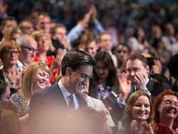 © Licensed to London News Pictures . 24/09/2013 . Brighton , UK . The Labour Party Leader , Ed Miliband , walks through the audience after delivering the Leader's Speech to the conference , this afternoon (24th September 2013) . Day 3 of the Labour Party Conference in Brighton . Photo credit : Joel Goodman/LNP