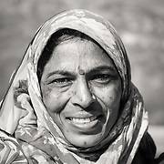 Portrait of woman wearing traditional sari in Jaipur