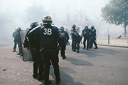 May 1, 2019 - Paris, France - French CRS riot police stand guard during clashes with protesters as part of the traditional May Day labour union march with French unions and yellow vests protesters in Paris, France, May 1, 2019. (Credit Image: © Nicolas Lee/NurPhoto via ZUMA Press)