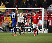 Cardiff City midfielder, Sammy Ameobi (38) getting red card, sent off during the Sky Bet Championship match between Charlton Athletic and Cardiff City at The Valley, London, England on 13 February 2016. Photo by Matthew Redman.