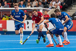 Harry Martin of Great Britain Men is watched by Nicolas Cicileo of Argentina Men during the 2019 Men's FIH Pro League match at Lee Valley Hockey Centre, Stratford<br /> Picture by Simon Parker/Focus Images Ltd <br /> 18/05/2019