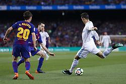 May 6, 2018 - Barcelona, Catalonia, Spain - May 6, 2018 - Camp Nou, Barcelona, Spain - LaLiga Santander- FC Barcelona v Real Madrid CF; Cristiano Ronaldo from Portugal of Real Madrid kicks the ball  (Credit Image: © Marc Dominguez via ZUMA Wire)