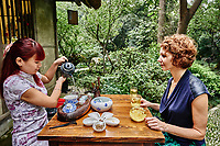Chengdu, China - September 21, 2014: tea ceremony in Du Fu thatched Cottage in Chengdu Sichuan China