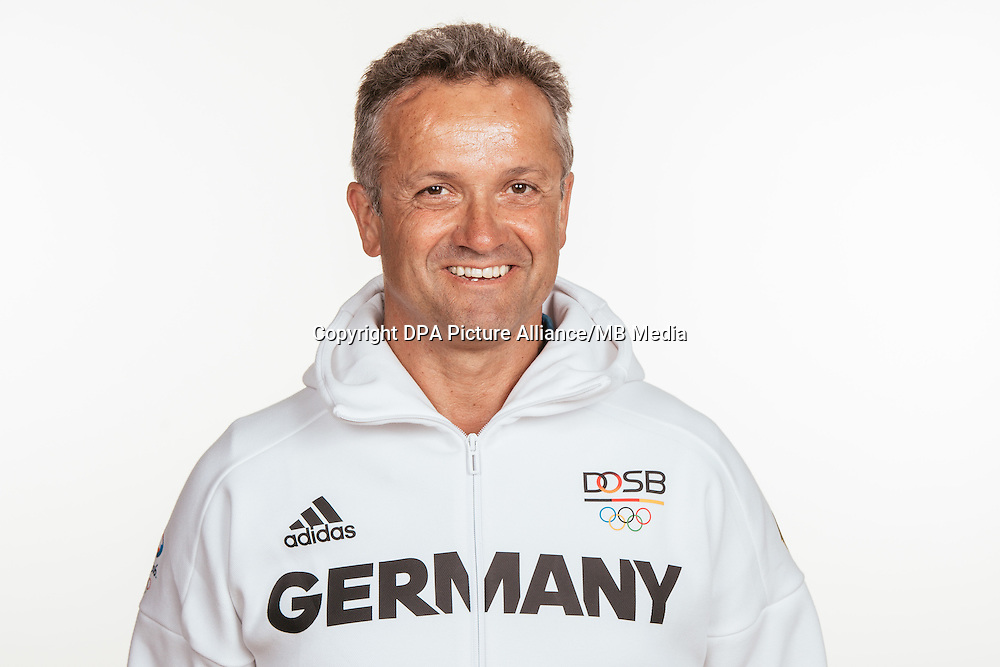 Udo Knepper poses at a photocall during the preparations for the Olympic Games in Rio at the Emmich Cambrai Barracks in Hanover, Germany, taken on 12/07/16   usage worldwide