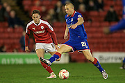Curtis Main (on loan from Doncaster Rovers) (Oldham Atheltic) steps over the ball during the Sky Bet League 1 match between Barnsley and Oldham Athletic at Oakwell, Barnsley, England on 12 April 2016. Photo by Mark P Doherty.