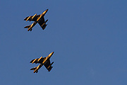 Two old Hawker Hunter Mark 58s flying for the Airborne Tactical Advantage Company (ATAC) flying over Kanagawa, Japan. Tuesday February 13th 2018