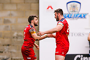 London Broncos centre Elliot Kear (1) celebrates scoring a try during the Betfred Championship match between Halifax RLFC and London Broncos at the MBi Shay Stadium, Halifax, United Kingdom on 8 April 2018. Picture by Simon Davies.