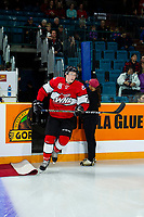 KAMLOOPS, CANADA - NOVEMBER 5:  Scott Walford #7 of Team WHL enters the ice against the Team Russia on November 5, 2018 at Sandman Centre in Kamloops, British Columbia, Canada.  (Photo by Marissa Baecker/Shoot the Breeze)