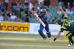 © Licensed to London News Pictures. 08/03/2012. Adelaide Oval, Australia. .Upul Tharanga plays a cover drive past the fielder during the One Day International cricket match final between Australia Vs Sri Lanka. Photo credit : Asanka Brendon Ratnayake/LNP