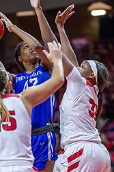 NORMAL, IL - December 20: Brooke Flowers double teamed on a shot by Lexi Wallen and Simone Goods during a college women's basketball game between the ISU Redbirds and the St. Louis Billikens on December 20 2018 at Redbird Arena in Normal, IL. (Photo by Alan Look)