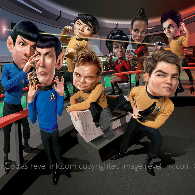 Caricature: Chris Pine vs William Shatner, Zachary Quinto vs  Leonard Nimoy,  Zoe Saldana vs Nichelle Nichols,  John Cho vs George Takei. Originally created in Photoshop for Penthouse Full Frontal Entertainment Review. Winner 2010 American Inhouse Design Award.