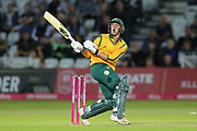 Luke Wood of Nottinghamshire Nottinghamshire Outlaws gets hit by Patrick Brown of Worcestershire Rapids during the Vitality T20 Blast North Group match between Nottinghamshire County Cricket Club and Worcestershire County Cricket Club at Trent Bridge, West Bridgford, United Kingdon on 18 July 2019.