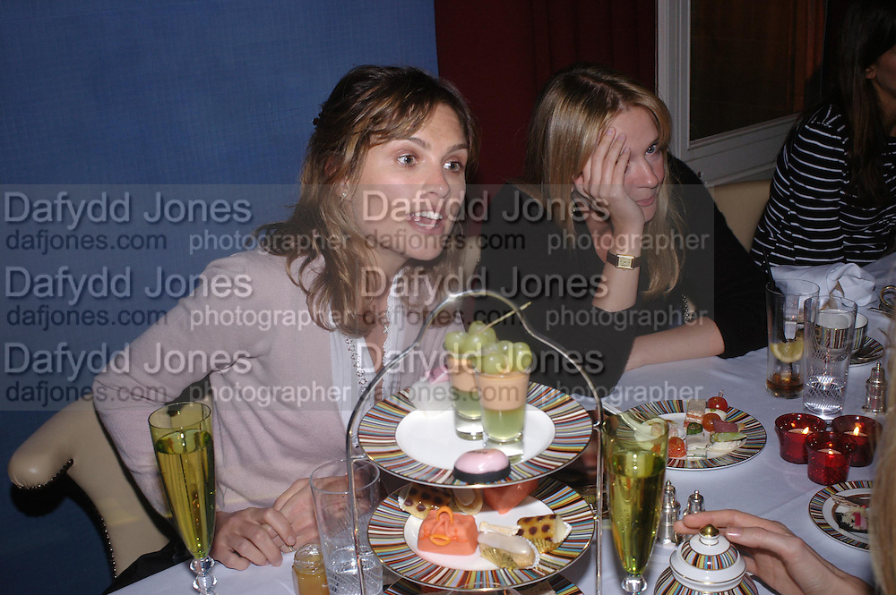 Sheherazade Goldsmith and Kate Reardon. 'Pret-a-Portea'M.A.C. launches High Tea collection with British fashion designers. Berkeley Hotel. 17 January 2004. ONE TIME USE ONLY - DO NOT ARCHIVE  © Copyright Photograph by Dafydd Jones 66 Stockwell Park Rd. London SW9 0DA Tel 020 7733 0108 www.dafjones.com