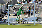 Fine save from Notts County goalkeeper Roy Carroll  during the Sky Bet League 2 match between Notts County and York City at Meadow Lane, Nottingham, England on 26 September 2015. Photo by Simon Davies.