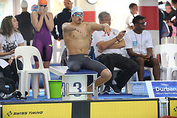 12082018 (Durban) Top Swimmer Caleb Swanepoel competing in man 100 meters Freestyle heat 1 during the final day in the coastal city of Durban were they play host to the 2018 SA National Swimming Championships (25m), with the action set to start from 9th to 12th August at the Kings Park Aquatics Centre.<br /> Picture: Motshwari Mofokeng/African News Agency (ANA)