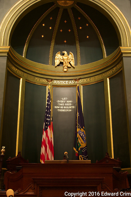 The alcove behind the speaker's desk in the Pennsylvania capitol's Senate chamber in Harrisburg.