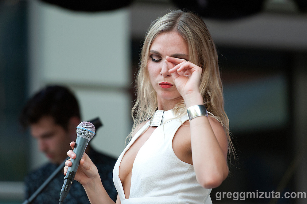 Z Berg, lead vocals for Phases, performs at the Record Exchange Party at Alive After Five on the  Grove Plaza in Downtown Boise, Idaho, August 26, 2015.