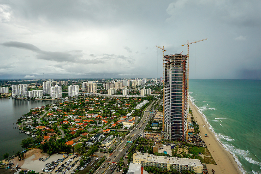 SUNNY ISLES, FLORIDA - SEPTEMBER 17, 2015: <br /> Construction under way on the Porsche Design Tower luxury condo. The building features elevators so residents can take their cars all the way up to their units. The exclusive development is touted as the first of it's kind anywhere. It is scheduled to be completed in 2016 and the units will be priced in the millions.<br />  (Photo by Angel Valentin/Freelance)