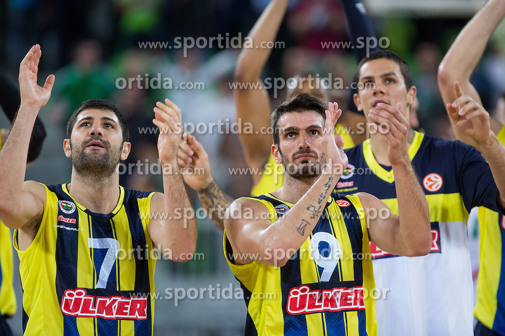 Onan Omer and Baris Ermis of Fenerbahce Ulker greet fans after basketball match between KK Union Olimpija and Fenerbahce Ulker Istanbul (TUR)  in 2nd Round of Regular season of Euroleague 2012/13 on October 19, 2012 in Arena Stozice, Ljubljana, Slovenia. (Photo By Vid Ponikvar / Sportida)