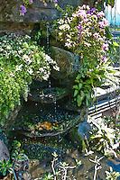 Beautiful tropical fountain in Amlapura Palace in Bali, Indonesia