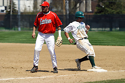 21 April 2007: Josh Bidzinski hurries back to 1st as Chris Sajdak relaxes because of a fake by the pitcher.  Carthage College loses the first game of a double header by a score of 5-2 against the Illinois Wesleyan Titans.