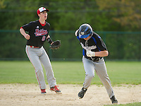 Winnisquam's Cam Chatford takes off for third as Belmont's Colby Leroux watches the play in the infield during Wednesday afternoon baseball.  (Karen Bobotas/for the Laconia Daily Sun)