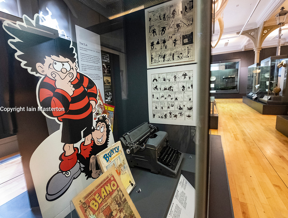 View of exhibit of local comics inside the McManus art gallery and museum in Dundee, Tayside, Scotland, UK