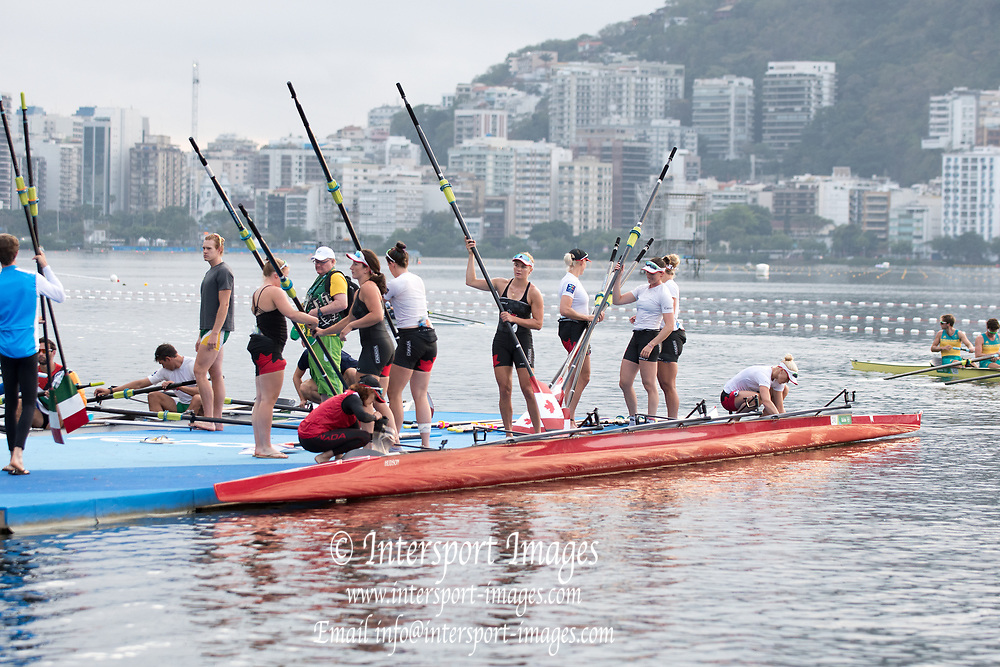 Rio de Janeiro. BRAZIL CAN W8+ Boating, General view of the boat park.  2016 Olympic Rowing Regatta. Lagoa Stadium,<br /> Copacabana,  &ldquo;Olympic Summer Games&rdquo;<br /> Rodrigo de Freitas Lagoon, Lagoa. Local Time 06:54:55  Tuesday  09/08/2016<br /> [Mandatory Credit; Peter SPURRIER/Intersport Images]