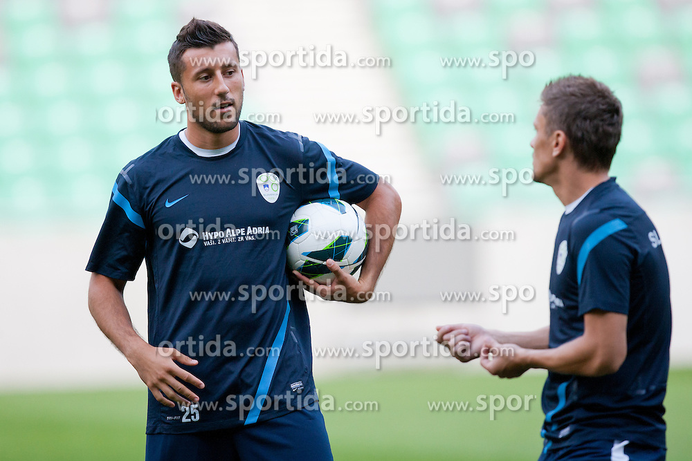 Dominic Maroh and Zlatko Dedic at first practice before friendly football match between National teams of Slovenia and Romania, on August 13, 2012 in SRC Stozice, Ljubljana, Slovenia. (Photo by Matic Klansek Velej / Sportida.com)