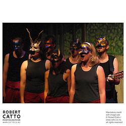 The Bacchanals present A Midsummer Night's Dream<br /> <br /> Wednesday 12 January - Saturday 22 January 2005, BATS Theatre, Wellington New Zealand<br /> <br /> Cast:<br /> Erin Banks (Helena, Snug, Cobweb), Irene Flanagan (Titania, Hippolyta), Alex Greig (Egeus, Nick Bottom, Fairy), Tina Helm/Brylee Lamb (Hermia, Peter Quince, Peaseblossom), David Lawrence (Theseus, Oberon), James Stewart (Demetrius, Francis Flute, Moth), Hadleigh Walker (Lysander, Tom Snout, Mustardseed), Natasya Yusoff (Puck, Robin Starvelling, Fairy, Philostrate, Forester)<br /> <br /> Production/Stage/Technical Manager Joshua Judkins; Venue & Accommodation Liaison James Stewart; Digital Paint & Compositing Early Worm Digital; Costume Design Erin Banks; Mask & Set Design Natasya Yusoff; Lighting Design Joshua Judkins; Funding Application & Sponsorship James Stewart; Photography Robert Catto; Music Walter J. Plinge & Evil M. Übercrave; Directed by David Lawrence
