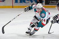 KELOWNA, CANADA - MARCH 23: Tyson Baillie #24 of the Kelowna Rockets skates against the Tri-City Americans on March 23, 2014 during game 2 of the first round of WHL Playoffs at Prospera Place in Kelowna, British Columbia, Canada.   (Photo by Marissa Baecker/Getty Images)  *** Local Caption *** Tyson Baillie;