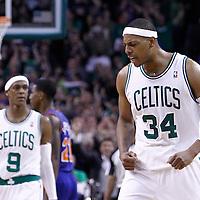 04 March 2012: Boston Celtics small forward Paul Pierce (34) celebrates during the Boston Celtics 115-111 (OT) victory over the New York Knicks at the TD Garden, Boston, Massachusetts, USA.