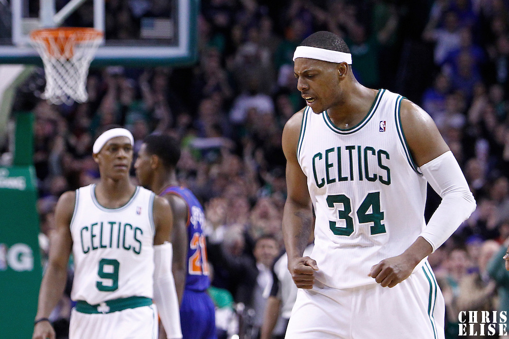 04 March 2012: Boston Celtics small forward Paul Pierce (34) celebrates during the Boston Celtics 115-111 (OT) victory over the New York Knicks at the TD Garden, Boston, Massachusetts, USA.