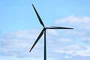 Vane and blades of wind turbines to harness renewable wind energy  in South Jutland, Denmark