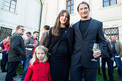 Primoz Kozmus, Olympic and World Champion in Hammer Throw with his wife Maja and daughter Maria Rosa when ending his sports career, on October 23, 2015 in Grad Brezice, Slovenia. Photo by Vid Ponikvar / Sportida
