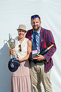 "Henley on Thames, United Kingdom, 8th July 2018, Sunday,  ""Henley Royal Regatta"",  Princess Royal Challenge Cup, Left, winner Jeannine GMELIN SUI W1X, Ruderclub Uster, with Trophy, Right Robin DOWELL, Head Coach Switzerland, View, Henley Reach, River Thames, Thames Valley, England, UK."