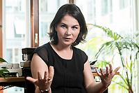 02 JUL 2019, BERLIN/GERMANY:<br /> Annalena Baerbock, MdB, B90/Gruene, Parteivorsitzende, waehrend einem Interview, in ihrem Buero, Jakob-Kaiser-Haus, Deutscher Bundestag<br /> IMAGE: 20190702-01-026