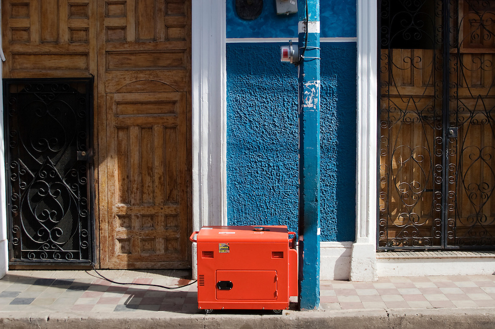 A generator sits outside of a hostel in the center of Granada, Nicaragua. Nicaragua has been plagued with power outrages related to a power generating crisis in the country since Daniel Ortega was elected president. Venezuela has pledged to provide free fuel to alleviate this crisis.