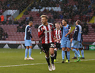 Harry Chapman of Sheffield Utd celebrates his first goal during the Emirates FA Cup Round One match at Bramall Lane Stadium, Sheffield. Picture date: November 6th, 2016. Pic Simon Bellis/Sportimage